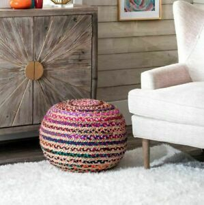 Pouf Ottoman Cover Jute Cotton Braided Style Home Decor Modern Living Foot Stool