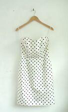 MODA INTERNATIONAL White & Black Polka Dot Strapless Fancy Silk Dress Size 6