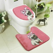Dog Design Bath Mat Toilet Seat Cushion Non Slip Floor U Shaped Rugs 2Pcs Set