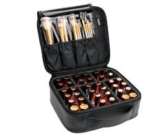 VASKER Makeup Case Travel Makeup Bags Organizer for Women Leather Cosmetic Bag