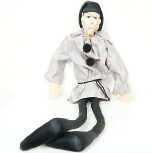 "Mattel Emotions Jester Long Leg Plush 40"" VTG Black Silver Hat Stuffed Toy"