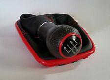 SCHALTKNAUF + SCHALTSACK mit Rahmen Rot - VW Golf 4 (12mm) /Naht Rot /Kappe Rot