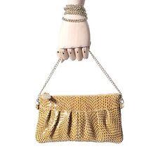 Women's Mustard Yellow Genuine Leather Clutch Wristlet Chain Day Evening Purse