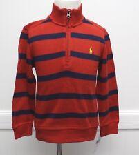 Ralph Lauren Sweater Red Navy Blue Striped Cotton Half Zip navy Pony Logo NWTS 4