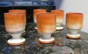 JB Cole pottery Seagrove, NC red eye gravy set of 6 goblets RARE