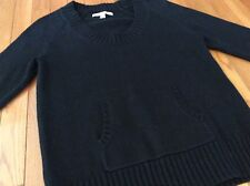 Womens Solid Black Scoop Neck Kangeroo Pouch Sweater Old Navy Size L Part Wool