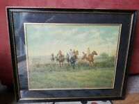 Vintage Lithograph Print C. Moss 1938 Lithograph USA Horses Jumping 21x17 Framed
