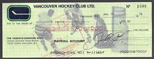 Hal Laycoe Boston Bruins Montreal Canadiens Signed Vancouver Canucks Cheque!