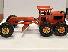 """Vintage 1976 Tonka 18"""" Pressed Steel No. 600 Orange Road Grader 1/8 Scale V Good"""