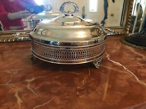 Vintage SILVER PLATED FOOTED COVERED SERVING DISH