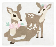 Accent Floor Rug Bath Mat for Blush Pink Mint Green White Woodland Deer Floral