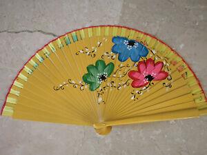 Spain Flamenco Hand Fan Case Fan Folding Fan Wooden B Yellow