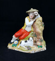 Dresden Figurine Man Leaning On Tree With Dog - Restored