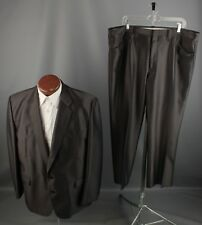 Vtg 1970s Black Polyester Western Leisure Suit Jacket 42 Pants 41.5x28 70s #6025