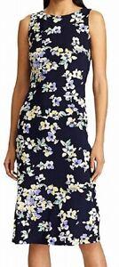 American Living Women's Midi Sheath Dress Blue Size 8 Floral Round-Neck $79 316
