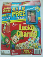 GENERAL MILLS LUCKY CHARMS EMPTY CEREAL BOX W/ MINI PEZ INCLUDED 2001