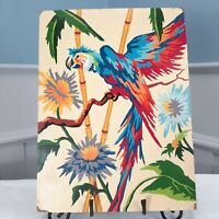 Vintage PBN Paint by Number Macaw Completed 12x16 Bright Tropical Bird Flowers