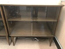 Pair Of Mid Century Wood Bookcases With Sliding Glass Doors