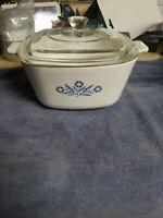 Vintage Corning Ware P-13/4-B Blue Cornflower 1 3/4 Qt Casserole Pyrex Lid D-23