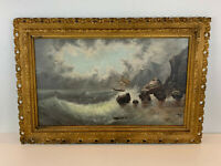 Vintage Possibly Antique Oil on Canvas Seascape Oil Painting w/ Ship