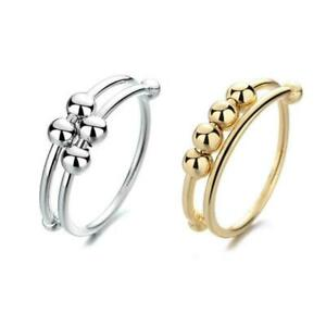 Geometric Beaded Ring Men And Women Can Freely Rotate Anti-stress Ring S2T6