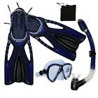 Scuba Diving Snorkeling Mask Dry Snorkel Fins Gear Set