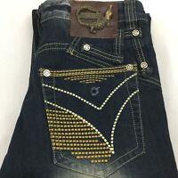 JustCavalli Jeans SZ 30 x 30 Crocodile Straight Leg Distressed Buckle Bicker