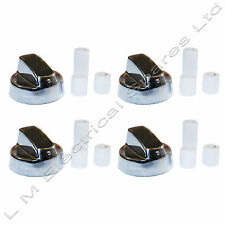 Universal Chrome Oven Knob Silver Gas Hob Cooker Control Switch Knobs + Adaptors