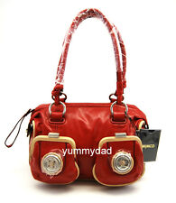 MIMCO MINI METAL BUTTON ZIP TOP BAG IN SCARLET RED BNWT RRP$399