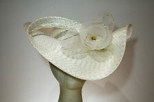 Women's White and Gold Wide Brim Straw Dress Hat With Asymmetrical Cut