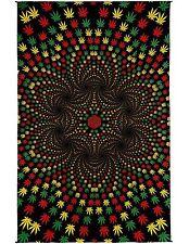 Handmade 100% Cotton 3D Weed Vortex Rasta Tapestry Tablecloth Sheet 60x90