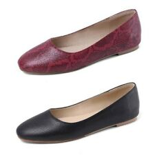 44 45 46 Women's Snakeskin Print Flat Loafers Round Toe Oxfords Slip On Shoes D
