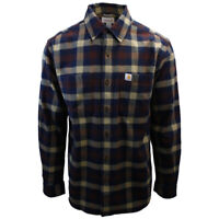 Carhartt Men's Relaxed Fit Maroon Navy Cream Box Plaid L/S Flannel Shirt (363)