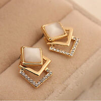 1 Pair Gold Plated Earrings Women Fashion Ear Stud Hollow Crystal Jewelry