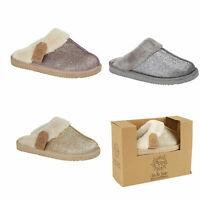 Ladies Womens Winter Sparkly Glitter Fur Slipper Mule Hard Sole Warm Shoes Sizes
