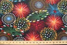 Fireworks in the Night Sky Fleece Fabric Print by the Yard A617.12