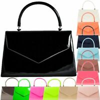 Ladies Structured Patent Clutch Bag Evening Box Bag Handbag Wedding Bag K41088