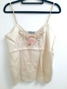 Vintage Boho Byron Bay 100% Silk Ivory Hand Embroidered Lace Floral Camisole SzS