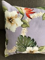 """1940's Vintage Tropical Barkcloth Pillow Cover&Insert Leaves Floral Lavender 17"""""""