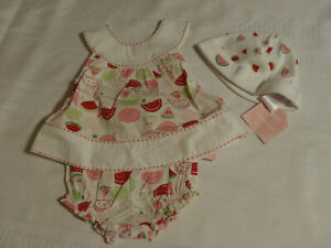 Gymboree Summer Picnic 0-3 Month Hat Shirt Bloomers Outfit NWT