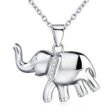 """925 Sterling Silver Crystal CZ Bowknot Lucky Baby Elephant Pendant 18"""" Necklace"""