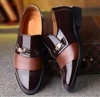 winter Men's slip on casual warm fur lined business formal Dress Shoes plus size