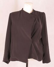 HUMANOID Womens Jacket Grey Khaki Green V Neck Long Sleeve Wrap Blouse Blazer M