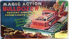 VINTAGE TIN TOY MAGIC ACTION BULLDOZER T.N NOMURA MADE IN JAPAN 50-60s BOXED
