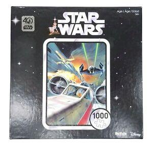 Star Wars 1000 Pc Jigsaw Puzzle Luke X-Wing Tie Fighter Buffalo Disney COMPLETE