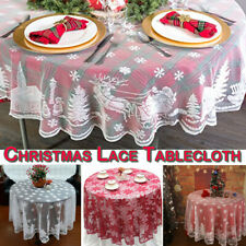 71inch Round Christmas Lace Table Cloth Cover Xmas Tablecloth Home Party Decor