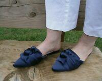 Womens Ladies Closed Toe Dark Blue Flat Mule Sandal, UK Size 2 3 4 5 6