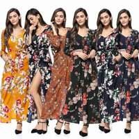 Casual Womens Ladies Summer Holiday Dress Beach Party Long Long Sleeve Sundress