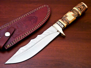 HAND FORGED STAINLESS STEEL HUNTING KNIFE-ENGRAVE CAMEL BONE HANDLE-AD-2555