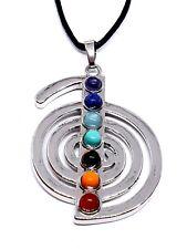 Cho Ku Rei Healing Reiki Silver Plated Cord Necklace Gem Pendant